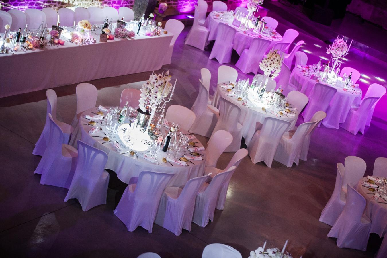Location de housses de chaises blanches en lycra, grises adaptables